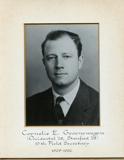 Cornelis E. Groenewegen (Occidental College 1928, Stanford University 1928) served as field secretary from 1929 through 1932. Brother Groenewegen is designated ROTPS number 10.
