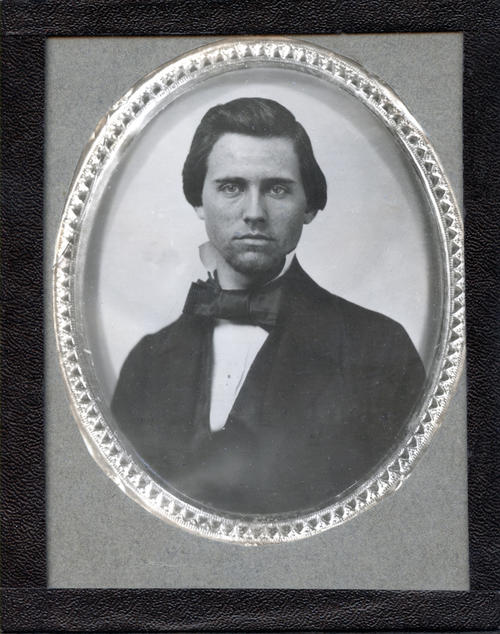 "Jesse Squire Gathright (DePauw University 1858) - FRONT  Born 1835, Louisville, KY. Initiated 1854 into Arcanus Decem. Initiated September, 1856 after the founding. Departed Indiana Asbury during the disturbance of 1856. Attended the University of Virginia in 1857 and died March 21, 1858. In UVA Special Collections' copy of Schele de Vere's Students of the University of Virginia: a Semi-Centennial Catalogue, someone penciled in ""typhoid epidemic?"" next to his entry. Chapter minute April 8, 1858 ""between the two preceding meetings a committee was appt . . . to draught resolutions, expressing regard of the Fraternity for late deceased Jesse S. Gathright."" Brother of Josiah Baker Gathright (1860) and Richard O. Gathright (1862)."