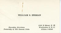 Bill Zerman (University of Michigan 1949) Business Card