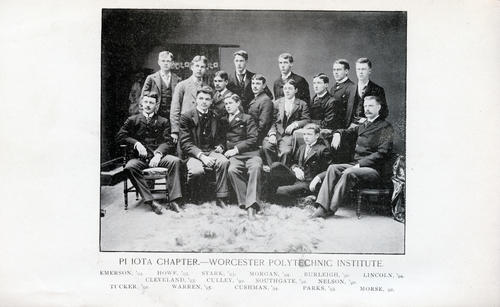 1892 group picture of the Pi Iota chapter at WPI founders.  The image appeared in the April 1892 edition of the Phi Gamma Delta Journal/Magazine.  The image contains the only known image of William Stark (WPI 1893).