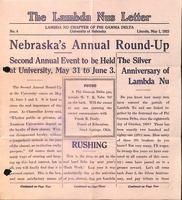 1923 May 1 Newsletter Lambda Nu (University of Nebraska)
