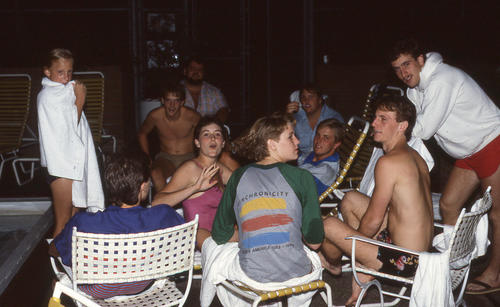 Men next to pool - presumed at Ekklesia The 136th Ekklesia was held in New Orleans, Louisiana at the Fairmont Hotel, on August 12-16, 1984. There were 670 Brothers registered for the 136th Ekklesia., Labeled 93 Description needs fixed
