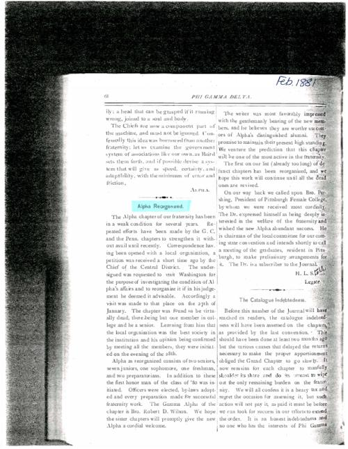 1881-1950 Phi Gamma Delta Magazine mentions of Alpha at Washington & Jefferson College.  There are 12 pages of articles.
