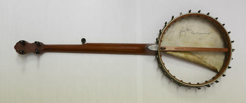 A banjo played by Frank Norris (University of California Berkeley 1894) played during his years as an undergraduate at Berkeley and while at Harvard.  The banjo was donated by Charles Norris  (University of California Berkeley 1903), brother of Frank Norris.