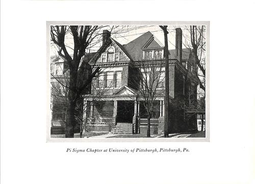 Chapter House at Pi Sigma at University of Pittsburgh c. 1927 as shown in the October 1927 edition of the Phi Gamma Delta Magazine., In the October 1927 edition of the Phi Gamma Delta Magazine, pictures of all chapter houses were published.  Of the 69 chapters at the time, 67 had chapter houses and the remaining two owned land and were preparing to build a chapter house.  It was estimated that the value of these houses amounted to $2.5 million (US).  Also included in this edition were proposals for chapter houses for the Mu chapter at the University of Wisconsin, Iota chapter at Williams College and Epsilon at the University of North Carolina.  For the International Fraternity included were the proposed rendering of the $750,000 Graduate Clubhouse in New York City (set to open a few months after the publication of the magazine), the proposed Washington DC headquarters of the International Fraternity (which was not built) and the seven year old Detroit Clubhouse.