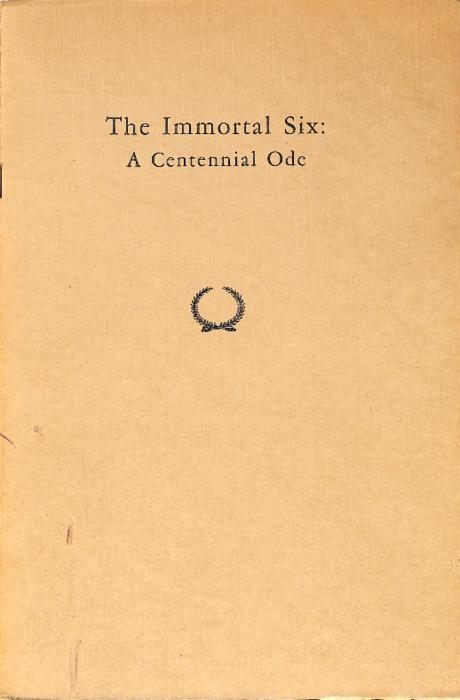 "A Centennial Ode was a poem written by Paul Hamilton Engle (University of Iowa 1932) in 1948 on the occasion of the 100th anniversary of the founding of Phi Gamma Delta Fraternity.  The book is 16 pages in length.  PAUL HAMILTON ENGLE (University of lowa 1932), author of ""The Immortal Six,"" is one of the most distinguished poets among Phi Gamma Delta's long list of eminent literary men. A native of Iowa, he first swam into the ken of Fijiland when he was introduced by the late Luther A. Brewer (Gettysburg 1883) to Mu Deuteron Chapter at Iowa University, where he received his master of arts degree. He was a Rhodes Scholar at Oxford University. Since 1937 he has been professor of English at Iowa. He is the author of Worn Earth, American Song, Break the Heart's Anger, Corn, Always the Land, West of Midnight, for which he received a $1000 award from the Friends of American Writers, and American Child. His compelling centennial ode was read at the Washington and Jefferson campus exercises by Dr. Gilbert W. Mead (Allegheny 1911), Historian of the fraternity."